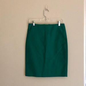 J Crew pencil skirt. Size 0. Jungle green. NWOT